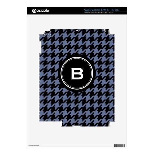 Houndstooth clásico de moda del gris azul con el m pegatina skin para iPad 3