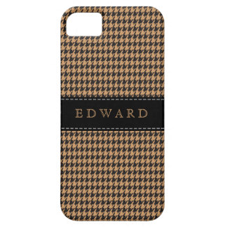 Houndstooth Classic Personalize Case Brown Black iPhone 5 Case