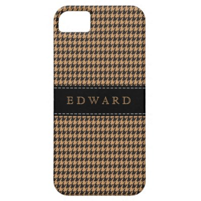 Houndstooth Classic Personalize Case Brown | Black iPhone 5 Case
