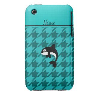 Houndstooth conocido personalizado de la turquesa iPhone 3 Case-Mate protectores