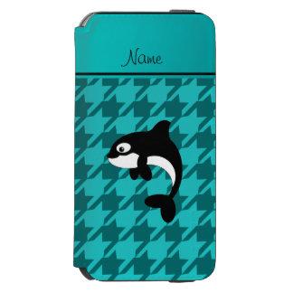 Houndstooth conocido personalizado de la turquesa funda billetera para iPhone 6 watson