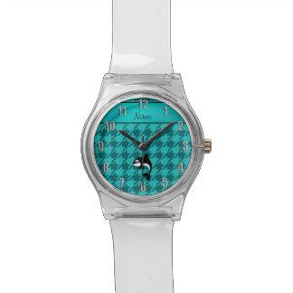 Houndstooth conocido personalizado de la turquesa reloj