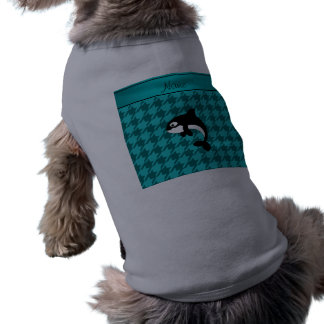 Houndstooth conocido personalizado de la turquesa playera sin mangas para perro