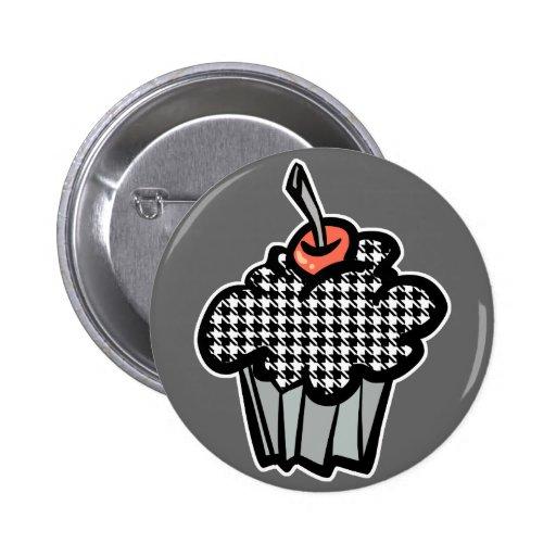 houndstooth cupcake pinback button