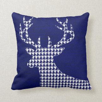 Houndstooth Deer Silhouette on Burlap | navy Throw Pillow