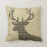 Houndstooth Deer Silhouette on Burlap | wheat Pillow