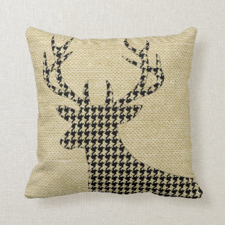 Houndstooth Deer Silhouette on Burlap | wheat Throw Pillow