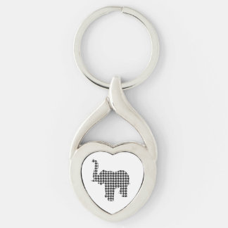 Houndstooth Elephant Keychain