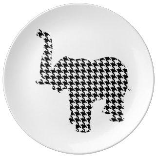 Houndstooth Elephant Porcelain Plate