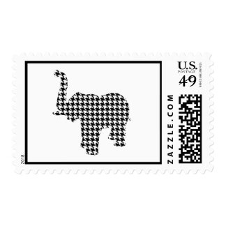 Houndstooth Elephant Postage Stamp