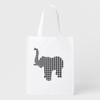 Houndstooth Elephant Reusable Grocery Bags
