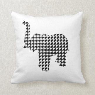 Houndstooth Elephant Throw Pillow