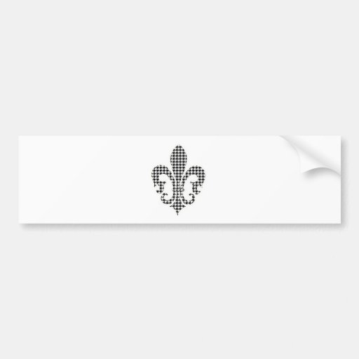 houndstooth fleur de lis car bumper sticker