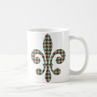 houndstooth fleur de lis mug