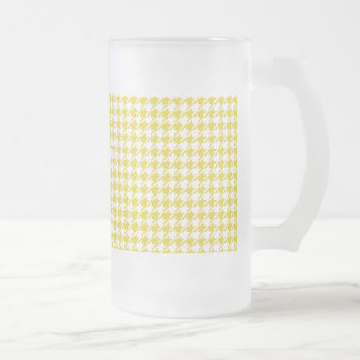 Houndstooth GOLD ANY COLOR BACKGROUND Frosted Glass Beer Mug