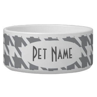 Houndstooth Gray Personalized Pet Food Bowl