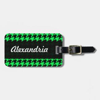 Houndstooth Green Black Decorative Art Pattern Bag Tag