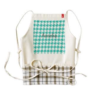 Houndstooth,green,girly,big pattern,trendy,cute,fu zazzle HEART apron