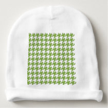 houndstooth greenery and white baby beanie