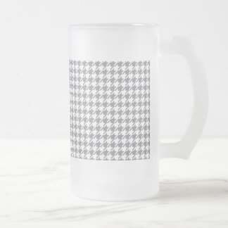 Houndstooth GREY ANY COLOR BACKGROUND Frosted Glass Beer Mug