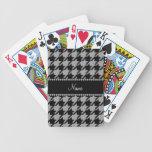 Houndstooth gris conocido personalizado baraja de cartas