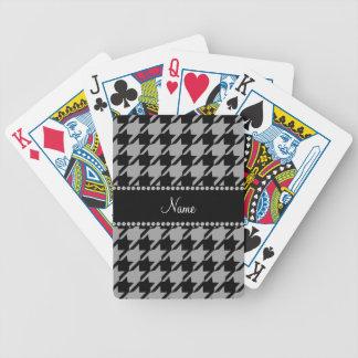 Houndstooth gris conocido personalizado cartas de juego