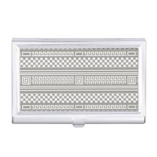 Houndstooth gris y blanco con espirales caja de tarjetas de negocios