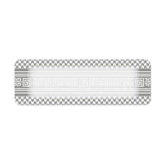 Houndstooth gris y blanco con espirales etiquetas de remite