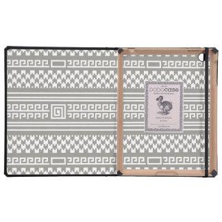 Houndstooth gris y blanco con espirales iPad cárcasa