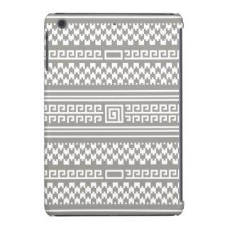 Houndstooth gris y blanco con espirales fundas de iPad mini