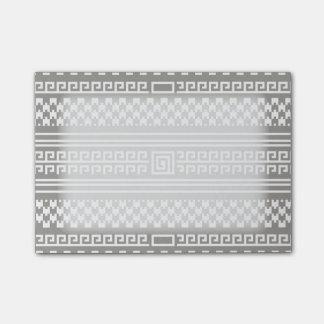 Houndstooth gris y blanco con espirales post-it notas