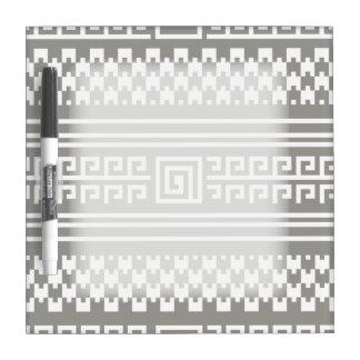Houndstooth gris y blanco con espirales tableros blancos