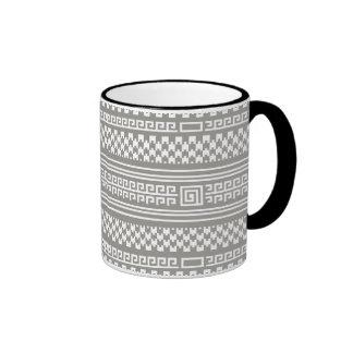 Houndstooth gris y blanco con espirales tazas de café