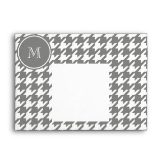 Houndstooth gris y blanco su monograma