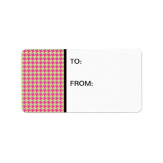 Houndstooth Hot Pink and Mint Label