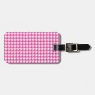 Houndstooth Hot Pink and White Bag Tag