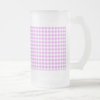 Houndstooth LAVENDER ANY COLOR BACKGROUND Frosted Glass Beer Mug