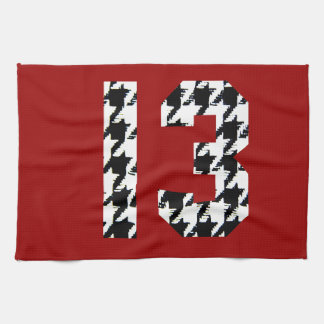 Houndstooth Lucky Number 13 Kitchen Towel