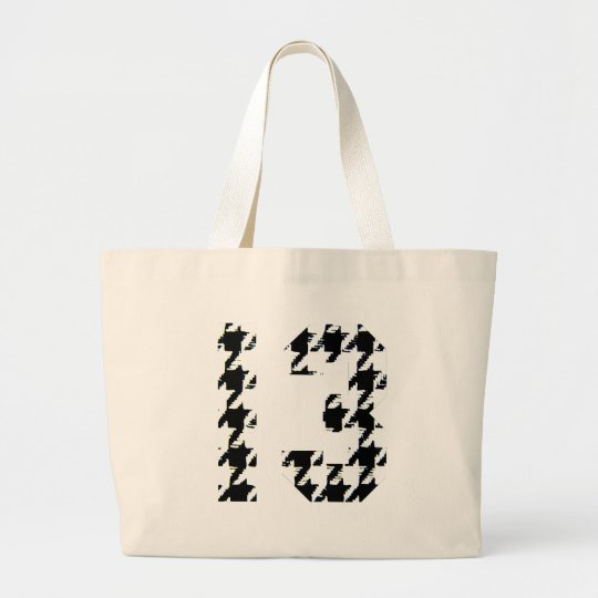 Houndstooth Lucky Number 13 Large Tote Bag