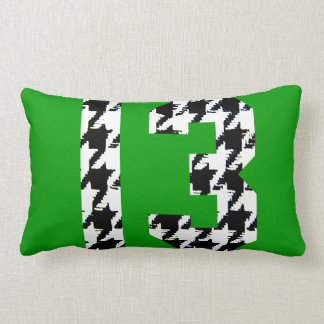 Houndstooth Lucky Number 13 Lumbar Pillow