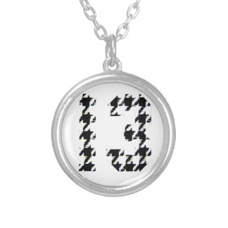 Houndstooth Lucky Number 13 Round Pendant Necklace