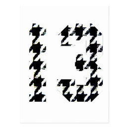 Houndstooth Lucky Number 13 Postcard