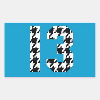 Houndstooth Lucky Number 13 Rectangular Sticker