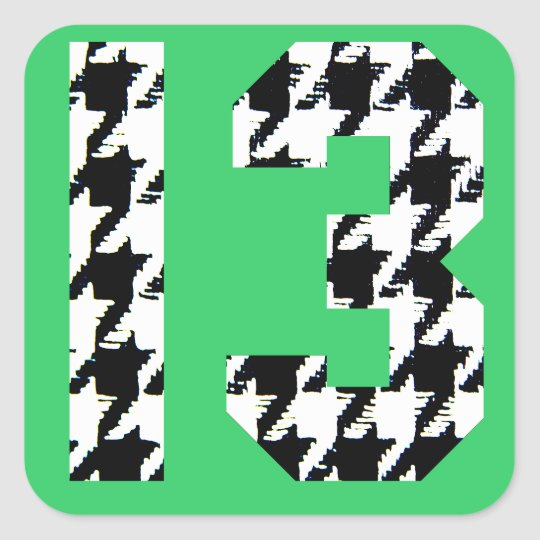 Houndstooth Lucky Number 13 Square Sticker