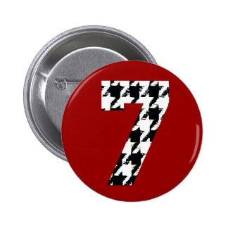 Houndstooth Lucky Seven Pinback Button