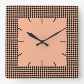 Houndstooth Melon and Black Square Wall Clock