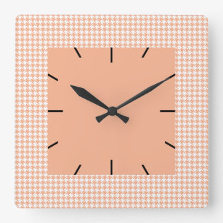 Houndstooth Melon and White Square Wall Clock