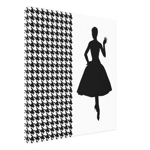 Houndstooth moderno negro con la silueta de la mod lienzo envuelto para galerias