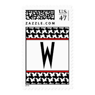 Houndstooth Monogrammed postage stamp