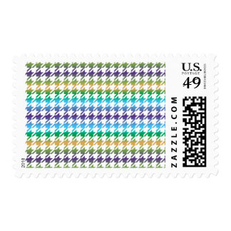Houndstooth MULTI 2 ANY COLOR BACKGROUND Postage